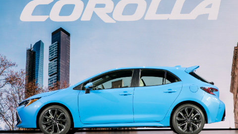 2019 Toyota Corolla Hatchback display at 2018 NY Auto Show