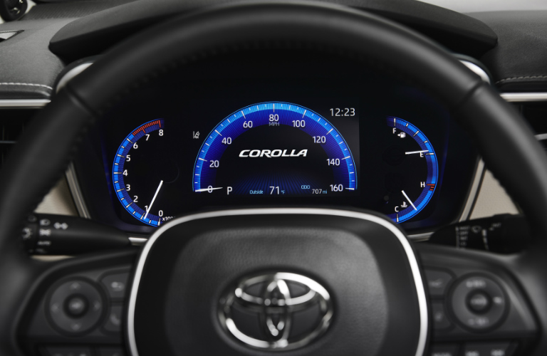 2020 Toyota Corolla steering wheel and driver gauges