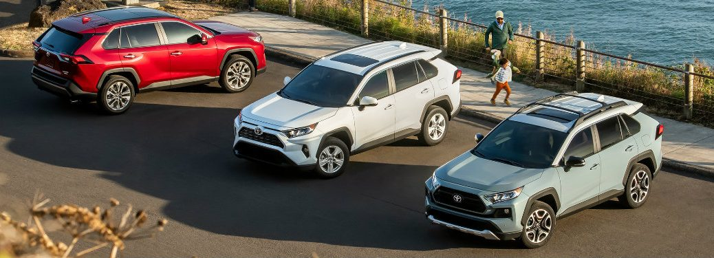 Three 2019 Toyota RAV4 models parked in a lot near the water