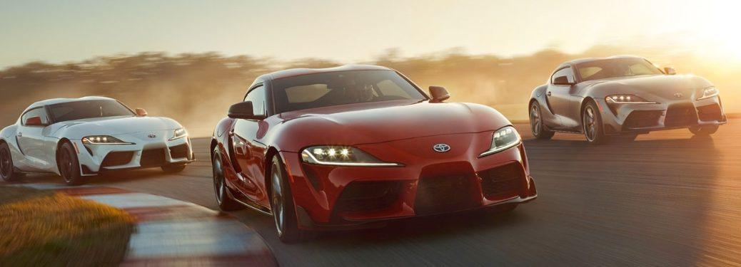 Three 2020 Toyota Supra cars on the track