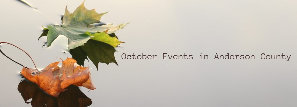 Two Leaves Floating on Water with October Events in Anderson County in Text