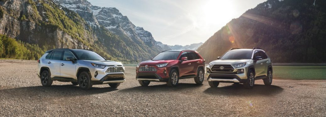 Three 2019 Toyota RAV4 vehicles with mountains in background