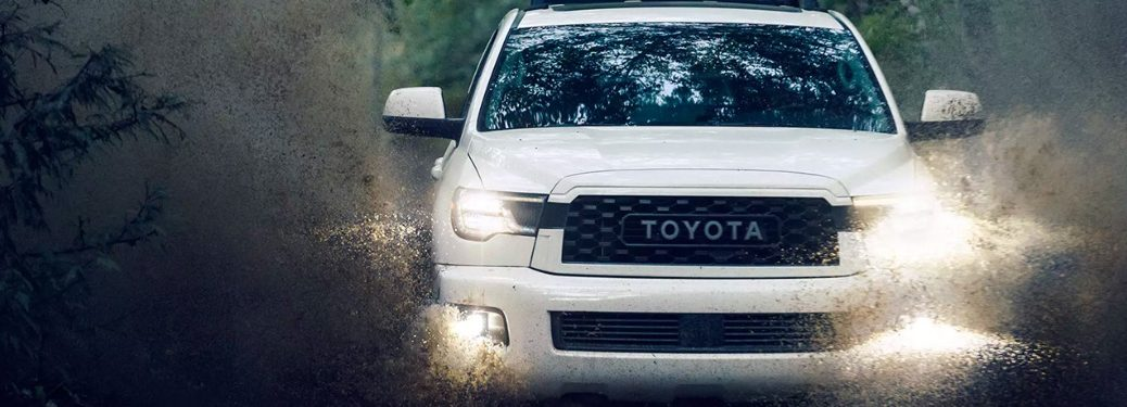 2020 Toyota Sequoia TRD going through a puddle