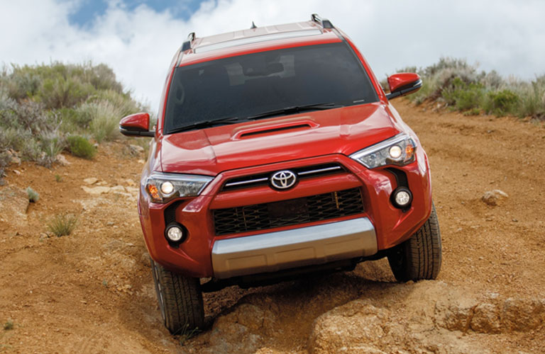 2020 Toyota 4Runner going down a hill of dirt