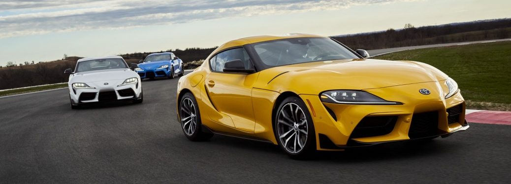 2021 Toyota GR Supra cars going around a racetrack