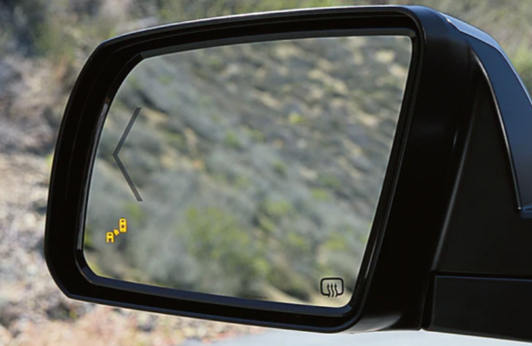 Blind Spot Monitor light on a 2020 Toyota Tundra side mirror