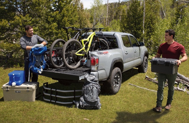 Bed of the 2020 Toyota Tacoma loaded up with bikes