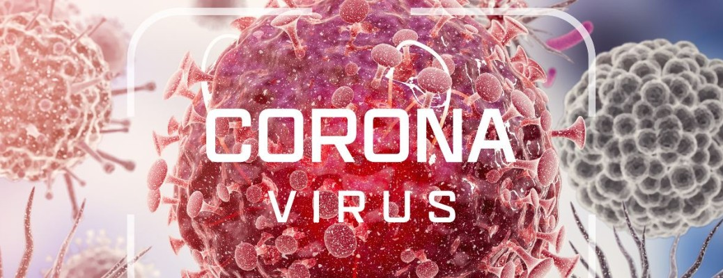 Coronavirus with little viruses in the background