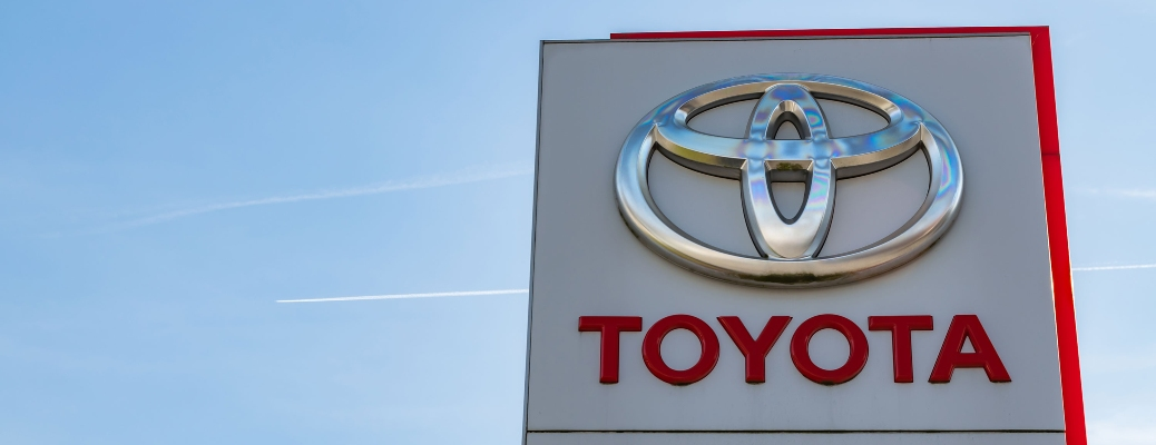 Toyota sign with beautiful blue sky