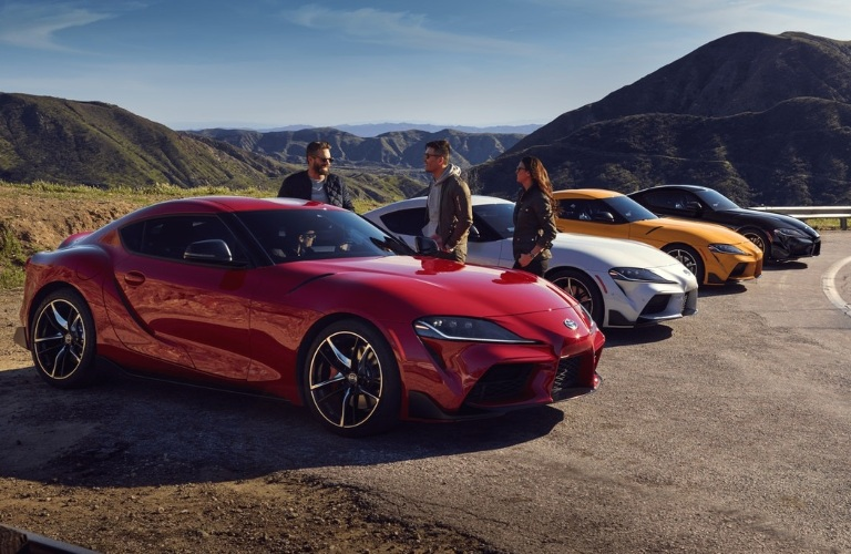 Four 2021 Toyota GR Supra cars lined up