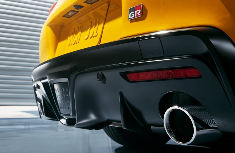 Tailpipes and back end of the 2021 Toyota GR Supra
