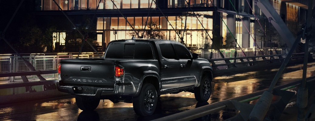 2021 Toyota Tacoma Nightshade Edition gong over a bridge