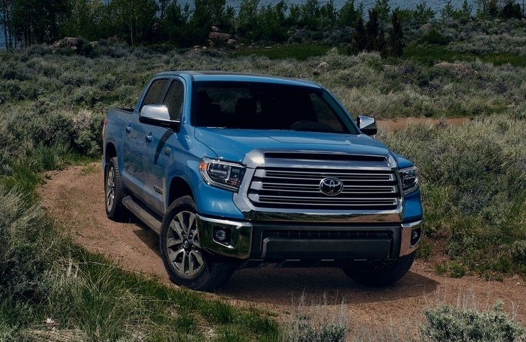 2021 Toyota Tundra going down a dirt path