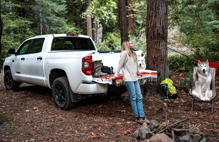 Woman with her dogs and 2021 Toyota Tundra in the woods