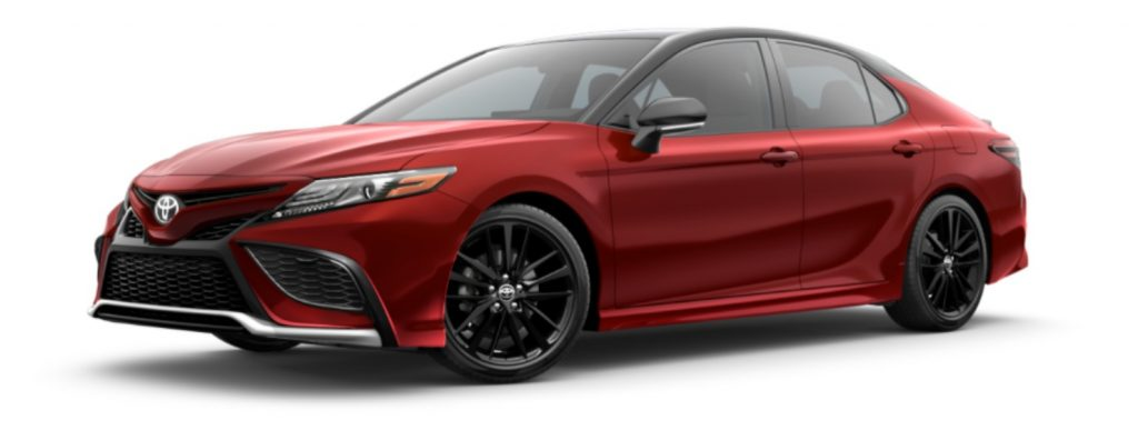 2021 Toyota Camry Supersonic Red and Midnight Black Metallic Roof