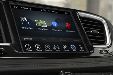 2018 Chrysler Pacific infotainment system close up shot
