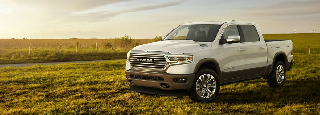 2019 RAM 1500 front exterior white on field