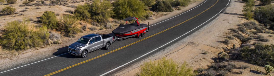 2019 RAM 1500 towing boat view from above