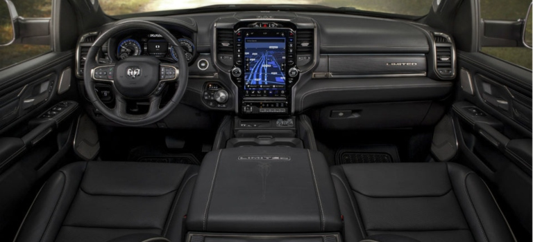 2019 RAM 1500 Limited black leather interior overview
