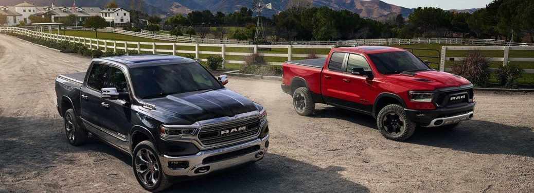 2019 RAM 1500 in black and red front view