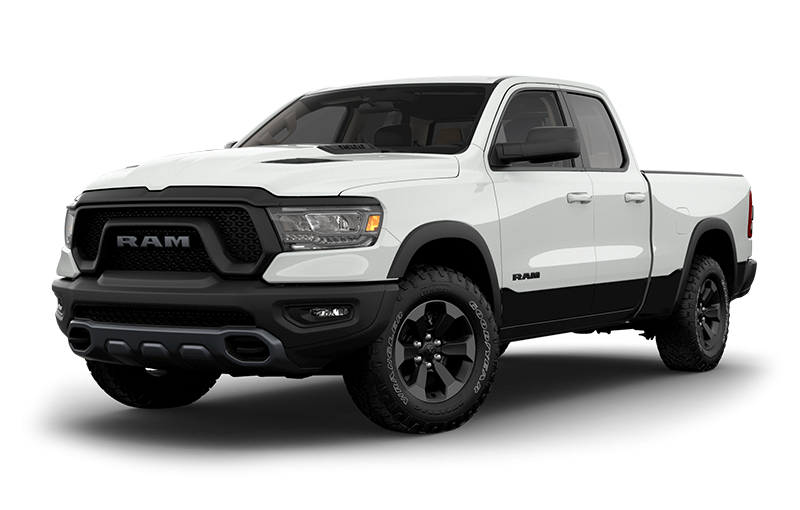 2019 RAM 1500 Rebel with bright white and black two tone side view