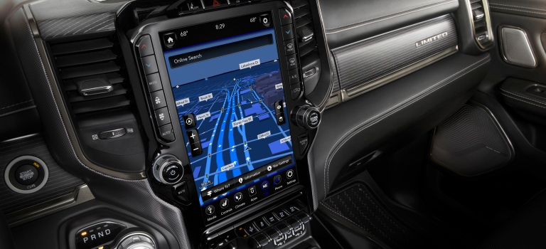 2019 RAM 1500 12-inch touchscreen close up