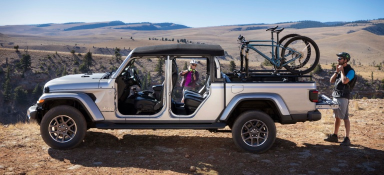 2020 Jeep Gladiator with the doors off in the mountains