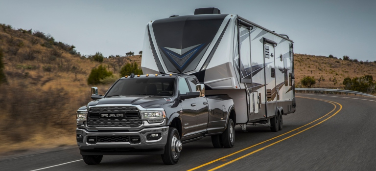 2019 RAM Heavy Duty gray front view towing