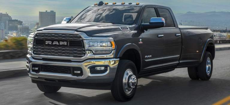 2019 RAM 3500 Heavy Duty gray side view dually