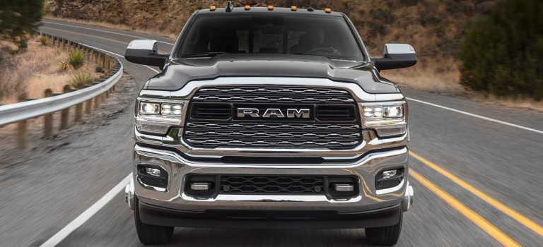 2019 RAM Heavy Duty chrome dark grille close up