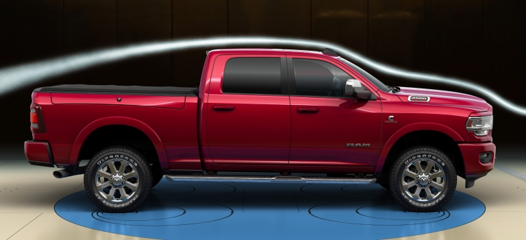 2019 RAM Heavy Duty red side view in a wind tunnel
