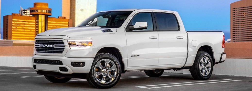 2019 RAM 1500 white side view headlights on