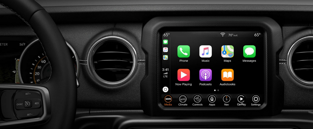 Apple CarPlay on the Uconnect infotainment system touchscreen in a 2020 Jeep Wrangler