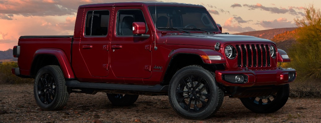 Passenger's side front angle view of red 2020 Jeep Gladiator High Altitude