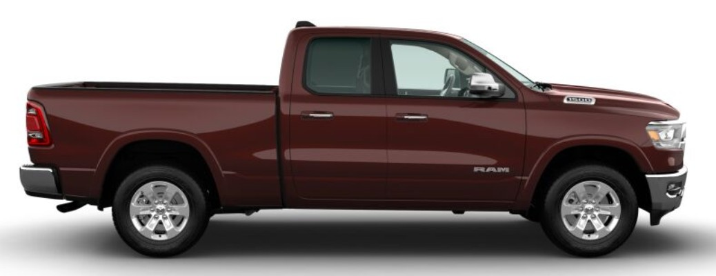 Side view of maroon 2020 RAM 1500 Laramie
