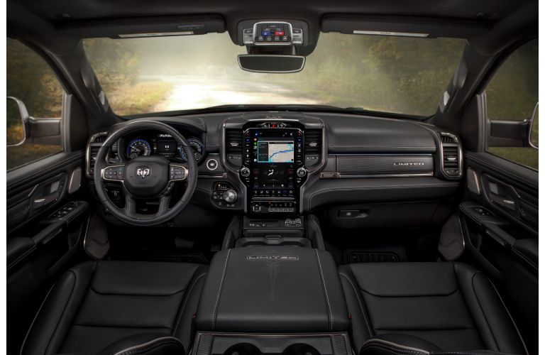 The front interior inside a 2021 RAM 1500.