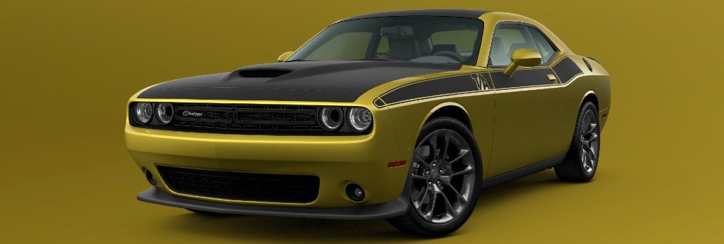 2021 Dodge Challenger T/A Exterior Driver Side Front Profile in Gold Rush