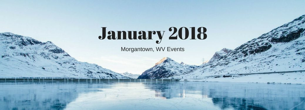 Morgantown, WV Events, text on an image of a frozen mountain lake