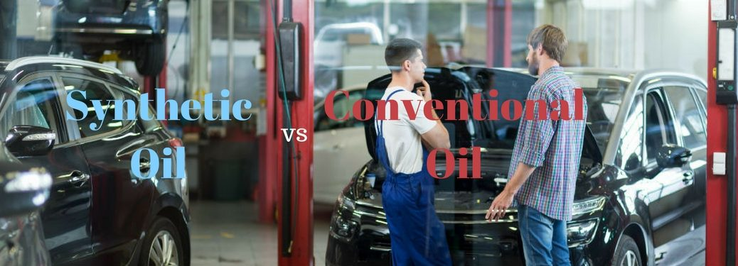 Synthetic Oil vs Conventional Oil, text on an image of a customer asking a mechanic a question in the garage