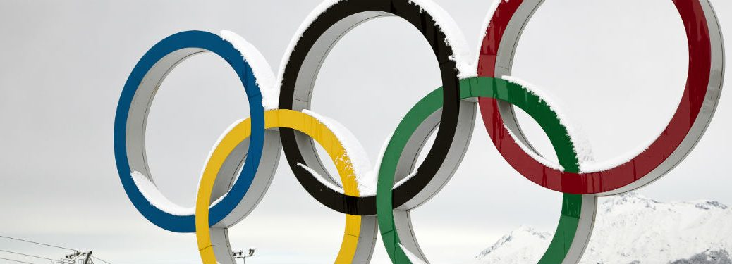 The blue,yellow, black, green, and red Olympic rings