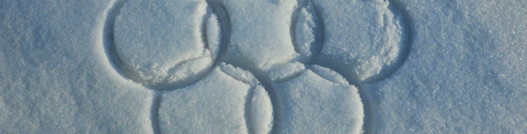 The Olympic rings drawn in snow