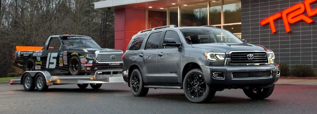 Passenger side exterior view of a gray 2018 Toyota Sequoia