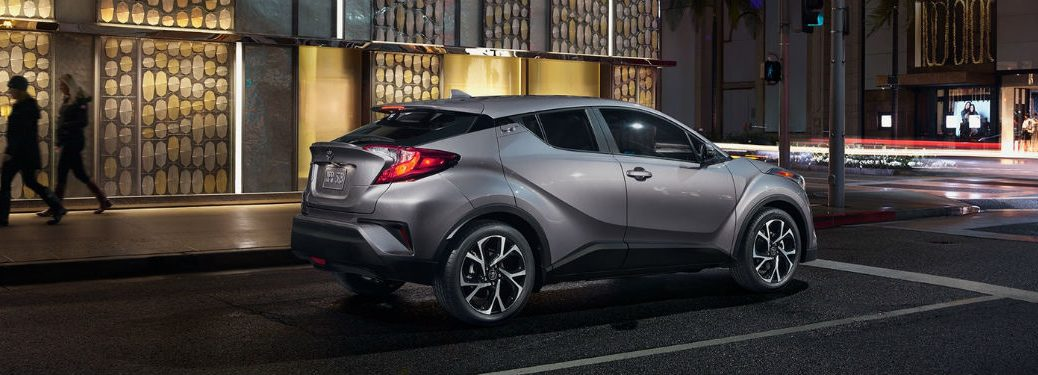 Passenger side exterior view of a gray 2018 Toyota C-HR