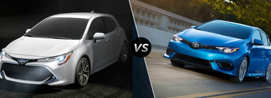 2019 Toyota Corolla Hatchback exterior front fascia and drivers side vs 2018 Toyota Corolla iM
