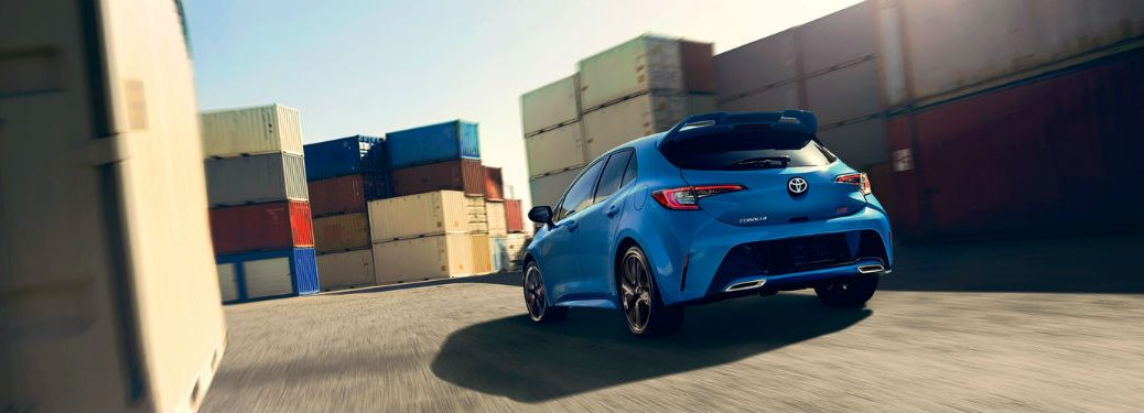 2019 Toyota Corolla Hatchback exterior back fascia and drivers side with storage containers