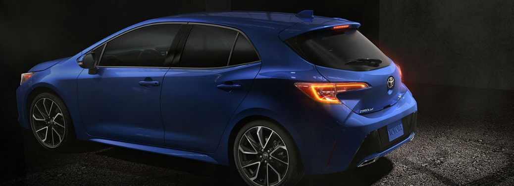 2019 Toyota Corolla hatchback exterior back fascia and drivers side