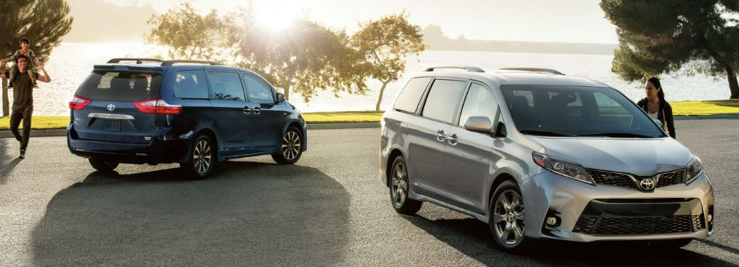 Two 2020 Toyota Sienna minivans parked next to each other