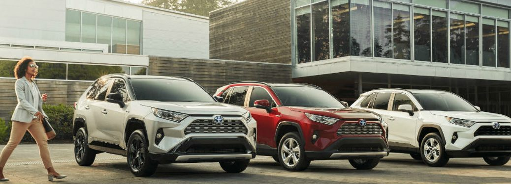 Three 2020 Toyota RAV4 models parked next to each other