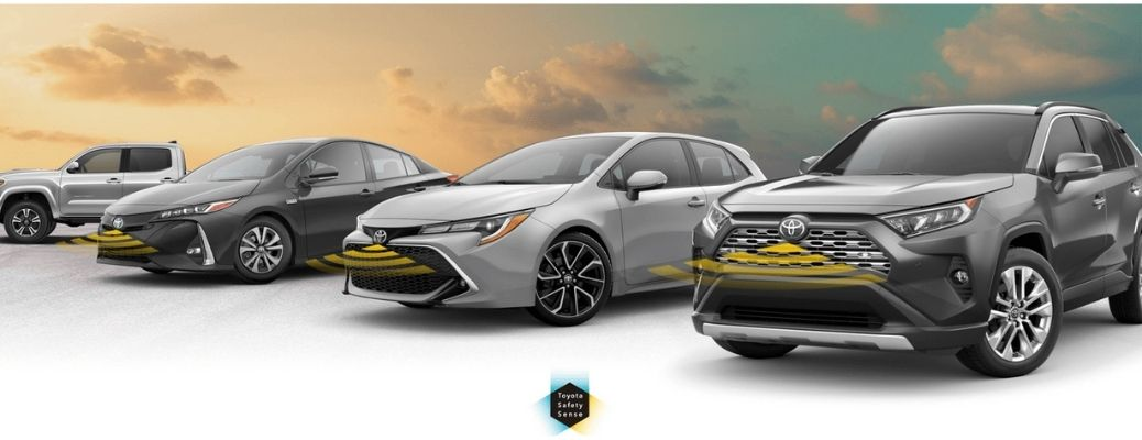 Image of Toyota cars displaying their safety technology