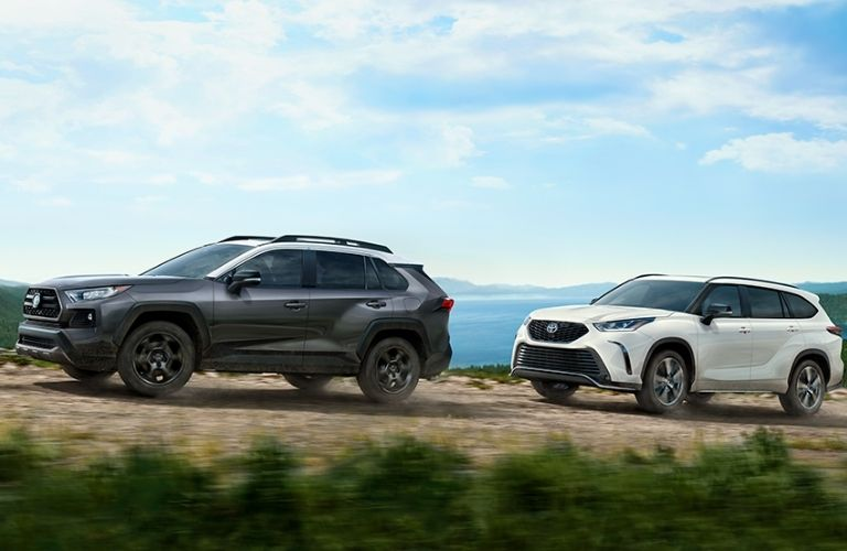 2021 Toyota SUVs black and white on the Road